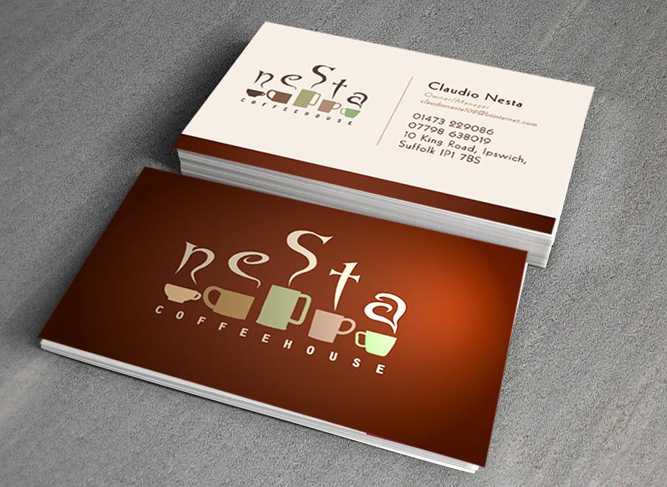 Nesta coffee branding business cards thomas alan jones mock up business cards to show potential brandingstationery for a coffee shop colourmoves
